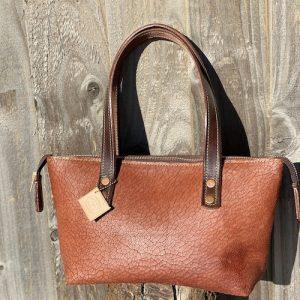 Crackle-Glaze-soft-Brown-Distressed-light-tan-leather-zip-top-handbag-ladies-bucket-bag