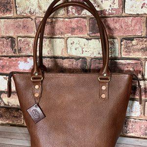 Rolled-handle-zip-top-bucket-textured-bag-shoulder-dark-tanned-tan 10