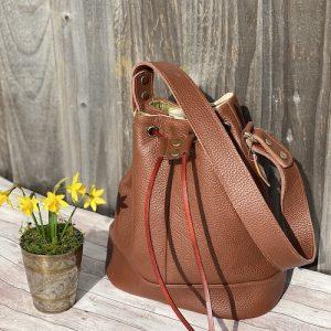 Brown-leather-bucketbag-hobo-duffle-handbags-handmade-totebag-shoulder -floralprints- 2